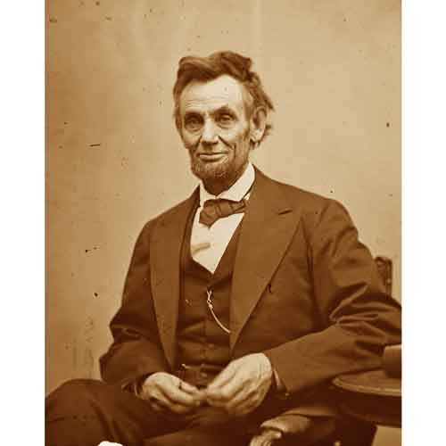 (Quality digital print of a vintage photograph - Abraham Lincoln Seated, 1865.Sepia Tone 5x7 inches - Luster Finish)