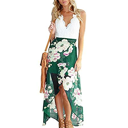 fasloyu Women's Deep V Neck Sleeveless Summer Asymmetrical Floral Maxi Dress Green 41RSgmlagdL