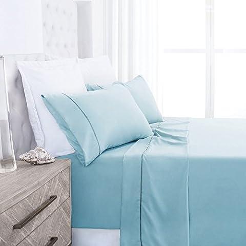 Beckham Hotel Collection Luxury Soft Brushed 2100 Series Microfiber Sheet Set - Hypoallergenic -Queen - Sky - Blue Plush Mattress Set