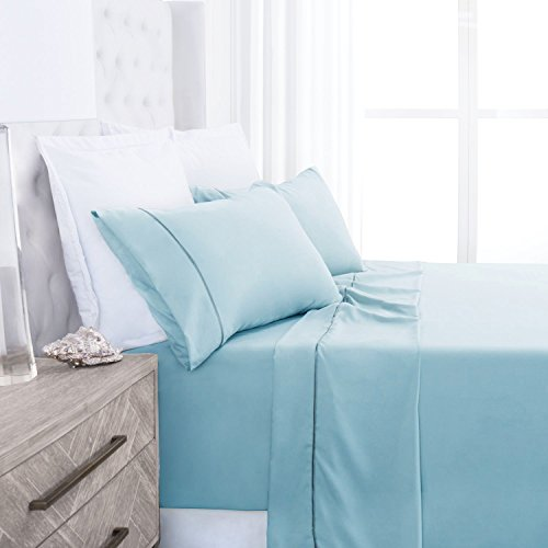 Beckham Hotel Collection Luxury Soft Brushed 2100 Series Microfiber Sheet Set - Hypoallergenic - King - Sky Blue