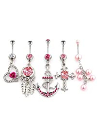 FECTAS 5pcs Pink Belly Button Rings Set Stainless Steel 14 Gauge Navel Bars Piercing Jewelry