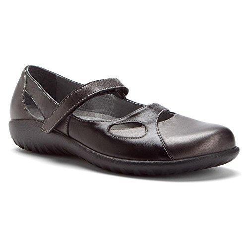 Naot Women's Taranga Mary Jane Flat, Metallic Road Leather/Black Madras Leather, 40 EU/8.5-9 M US