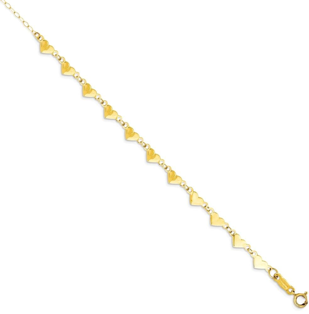 ICE CARATS 14k Yellow Gold Oval Cuban Link Chain Hearts 1 Inch Adjustable Plus Size Extender Anklet Ankle Beach Bracelet Fine Jewelry Gift Set For Women Heart