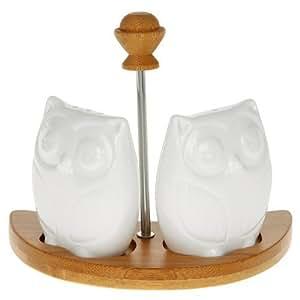 White Owl Cruet Set On Bamboo Base by Joe Davies
