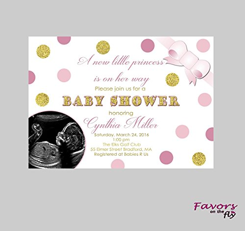 Ultrasound Baby Shower Invitations - Pink & Gold Princess Baby Shower 4x6 Invitations personalized with ultrasound photo- Includes Envelopes!