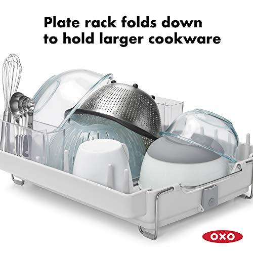 OXO Good Grips Convertible Foldaway Dish Rack, Stainless Steel