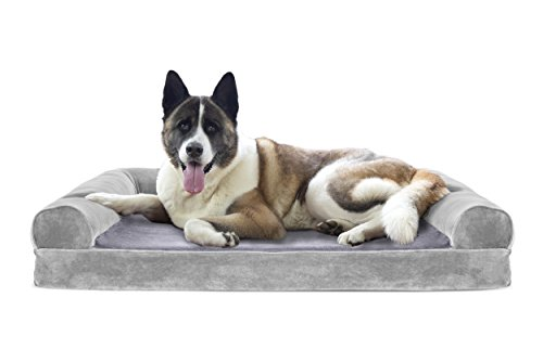 Furhaven Pet Dog Bed | Cooling Gel Memory Foam Orthopedic Faux Fur & Velvet Sofa-Style Couch Pet Bed for Dogs & Cats, Smoke Gray, Jumbo