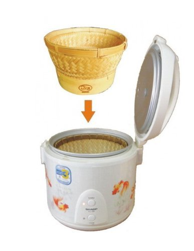 Innovative Thai Bamboo Sticky Rice Automatic Basket for 1.8 Liter Size Electronic Rice Cooker - With Cover (Medium Size) by kitchen utensils