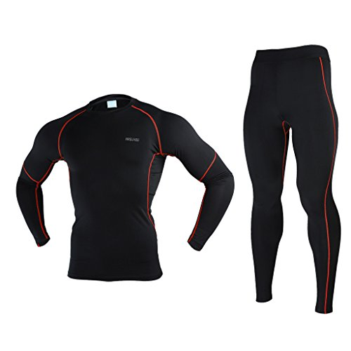 - ARSUXEO Winter Warm Up Fleece Compression Base Layers Suits With Shirts and Pants Black Red Size Large