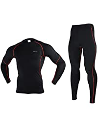 Winter Warm Up Fleece Compression Base Layers Suits With Shirts and Pants
