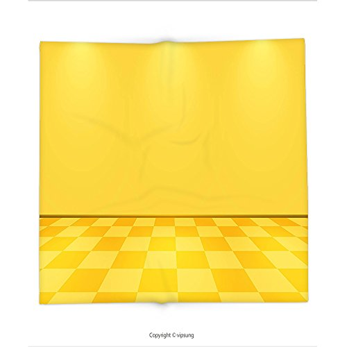 Custom printed Throw Blanket with Yellow Decor by Shades of Lemon Yellow in Every Tone Chess Like with Lighting Image Yellow and Cream Super soft and Cozy Fleece Blanket (Every Halloween Icp)