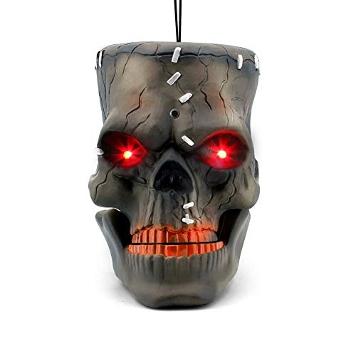 Halloween Hanging Decorations (LUKAT Halloween Hanging Decorations, Halloween Skull Head with Glowing Eyes & Creepy Sounds & Biting Mouth Portable Scary Zombie Head for Halloween Indoor/Outdoor Carrying, Hanging and)