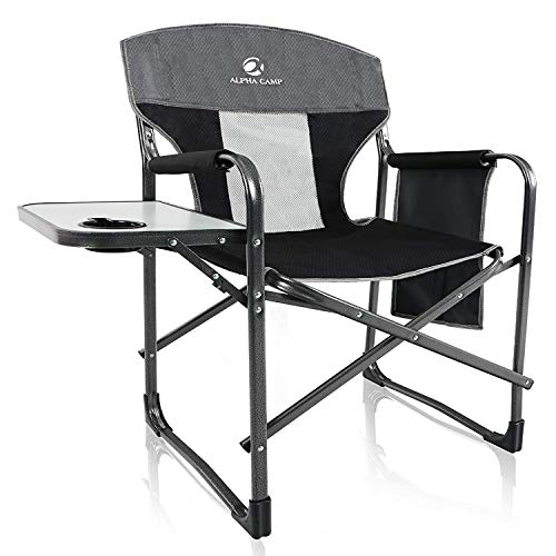 ALPHA CAMP Oversized Camping Director Chair Heavy Duty Frame Collapsible with Side Table, Supports 300 lbs - Grey/Black