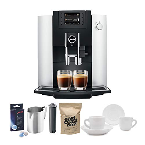 Jura 15070 E6 Automatic Coffee Center, Platinum Includes Filter Cartridge, Cleaning Tablets, Frothing Pitcher, Coffee Beans and 2 Ceramic Cups and Saucers (Jura A1 Bean To Cup Coffee Machine)