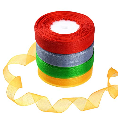 - BTNOW 4 Spools 4 Color Valentine's Day Gift Wrapping Ribbons Weird Sparkle Sheer Organza Ribbon, Total Length 196 Yards/590 Feet