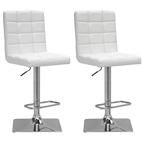 CorLiving DPU-914-B Adjustable Barstool in White Bonded Leather, set of 2 ()