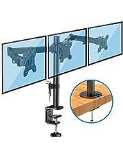 Huanuo Triple Monitor Arm - In Hoogte Verstelbare Monitor Stand voor 13-24 inch Scherm, Ondersteuning 10 Kg Monitor per Arm, 2 Montagemogelijkheden, VESA 75x75 / 100x100 mm
