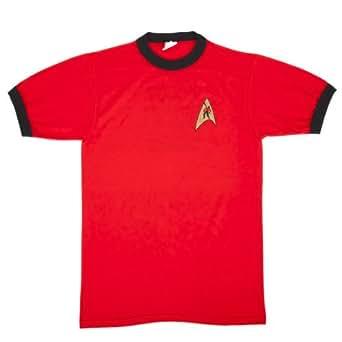 Ian Leino Design: Star Trek redshirt 'He's Dead, Jim' Red/Black Ringer Tee - Mens/Unisex 3X-Large