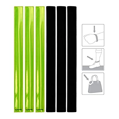 kwmobile 6 Pack Reflector Snap Bands - 34 x 3cm High Visibility Safety Bands for Arm Ankle Wrist - Neon Yellow Reflective Luminous Strips EN13356