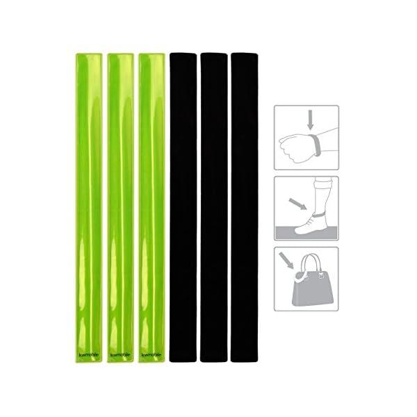 kwmobile Set de 6 Cintas Reflectantes - Banda Reflectante neón de Alta Visibilidad para Actividades Deportivas - Tiras Fluorescentes 34 x 3CM EN13356 6