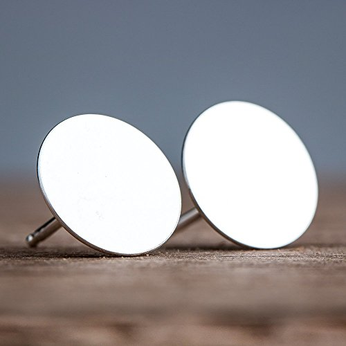 Round Disc Earrings (Large 10mm Round Sterling Silver Circle Disc Stud Earrings - Smooth and Flat Nail Head Mirror Posts)