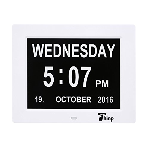 Upgraded-Thinp Calendar Clock Digital Dual Alarm Clock -Desk/Shelf Memory Loss Day Clock - Extra Large Non-Abbreviated Day & Month - Excellent for Impaired Vision - Support Video and Picture