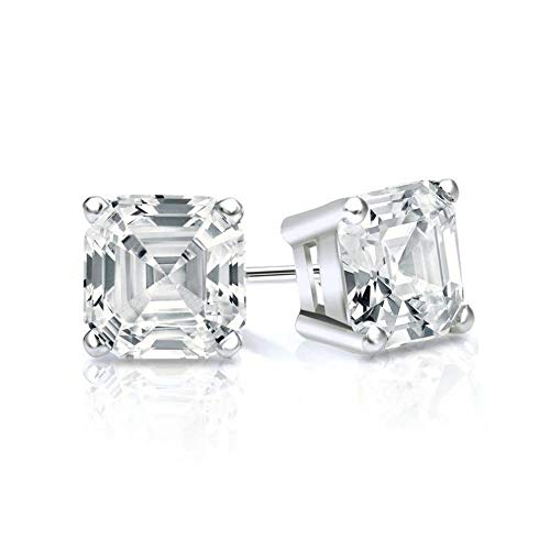 White Gold Diamond Solitaire Asscher Cut 3.00 ct CZ Stud Earrings 18K(750) Hallmarked Screw Back, Color D, Clarity VVS