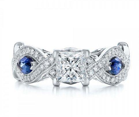 Gowe Luxe élégant 1.1CT Centre Ascd imitation diamant imitation saphir bleu Or Massif 9K Or blanc Bague de fiançailles