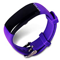 Lincass Waterproof Smart Bracelet Fitness Tracker Heart Rate Monitor Wristband Pedometer Step Walking Distance Calorie Counter Smart Watch Fitness Tracker for iOS Android Smartphone (Purple)