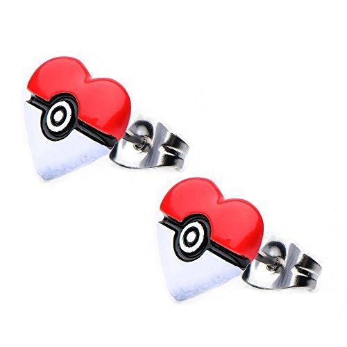 Pokemon Poke Ball Heart Shape Stainless Steel Stud Earrings