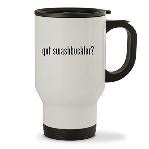 got swashbuckler? - 14oz Sturdy Stainless Steel Travel Mug, White
