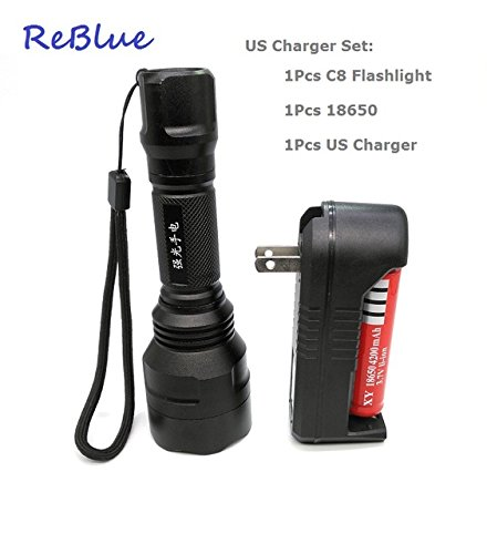 C8 US Set, Flashlight : Lanterna tatica ReBlue X900 lanterna linterna C8 XML Q5 militar Resistente Ao Choque telescpica basto poderoso X900