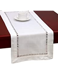 Handmade Hemstitched Natural Rectangle White Lace Table Runners (14x72 inch)