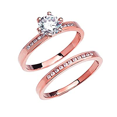 Diamond 14k Rose Gold Engagement and Wedding Ring Set With 1 Carat White Topaz Solitaire Centerstone