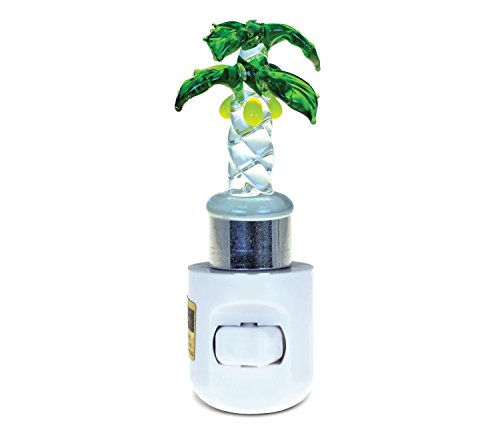 (Puzzled Palm Tree LED Night Light, 4.5 Inch Plug in Energy Efficient Decorative Wall Lamp Manual On & Off Portable Lights Stairways Bedroom Kitchen Hallways Bathroom Tropical Beach Themed Home Decors)