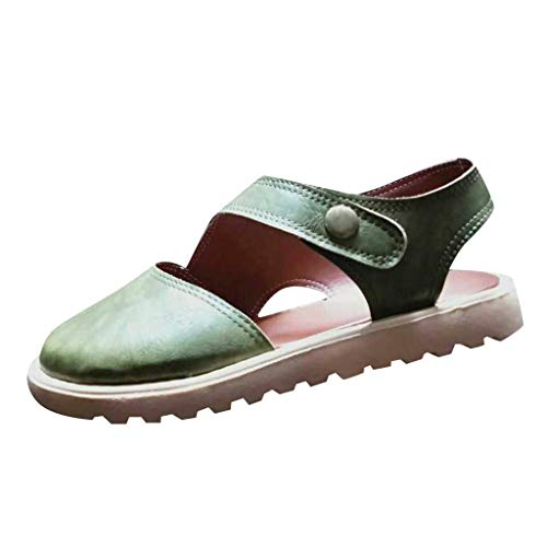 Tantisy ♣↭♣ Women's Leather Roman Shoes/Trend Pumps Sandals/Round Toe Ladies Outdoor Flat Shoes Green