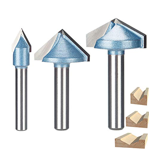 HUHAO 3D Router Bits Tungsten Steel CNC Engraving Sharp V Groove Bit 120 Degree 6mm Shank Woodworking Cutting Tool