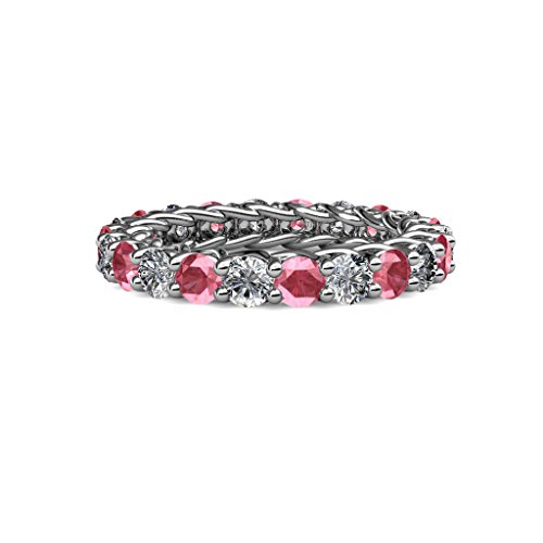 Gallery Pink Tourmaline - TriJewels Pink Tourmaline & Diamond 3.4mm Gallery Eternity Band 2.76 ctw-3.19 ctw 14K White Gold.size 4.5