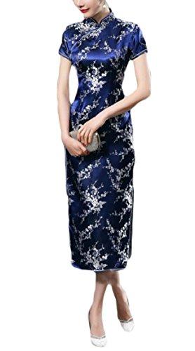Short Sleeve Cheongsam Dress - Smeiling Women's Sexy Short Sleeve Print Long Chinese Prom Dress Cheongsam 15 4XL
