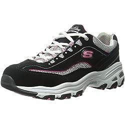 Skechers Sport Women's D'Lites Life Saver Fashion Sneaker, Black/Pink, 8 M US