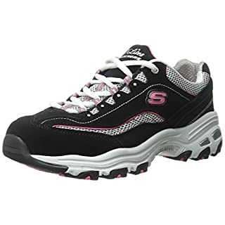 Skechers womens D'lites - Life Saver Memory Foam Lace-up Sneaker,Black/Pink,10 M US
