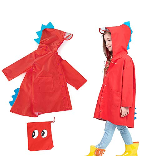 SSAWcasa Kids Raincoat with Hood,Children Dinosaur Rain Coat,Waterproof Portable Reusable Toddler Rainwear with Storage Pouch,Rain Jacket Poncho for Baby Boys and Girls Tag Size XL (M, Red)
