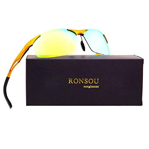 Aluminum Alloy Frame - Ronsou Men Sport Aluminum Magnesium Polarized Sunglasses Alloy Mirror eyewear god frame/gold blue lens