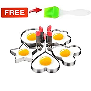Egg Rings, I-Choice 5pcs SUS304 Thicker Stainless Steel Fried Egg Mold Egg Ring with Round Flower Heart Star Shape Biscuit Cooking Tools Kitchen Gadgets Pancake Mold Ring Omelette Molds with Oil Brush