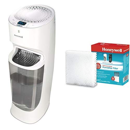Honeywell Top Fill Tower Humidifier with Digital Humidistat White Auto Shut-Off, Digital Humidistat & Removeable Top Fill Tank for Large Rooms, with Humidifier Filter