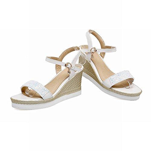 Pied De Charme Femmes Mode Paillettes Plate-forme Coin Cheville Sandales Sandales Blanc
