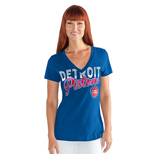 - GIII For Her NBA Detroit Pistons Women's 1St Down V-Neck Tee, Small, Royal