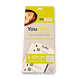 YouWho Professional Name Badge Insert Sheet Pack (Crystal Clear/Inkjet)