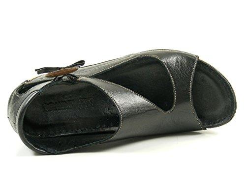 Damen Keil Schwarz Sandaletten Sandalen Schuhe 32029 Gemini 02 C4wpZAqw