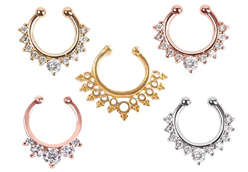 Septum Ring,5PCS Women Crystal Fake Nose Rings Non-Piercing Jewelry Clip On Clicker Silver/Gold/Rose Gold